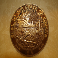 Indiana State Seal in Bronze