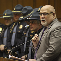 Rep. Tim Brown led House members in honoring Sr. Tpr. Ryan Winters, 2015 National Trooper of the Year.