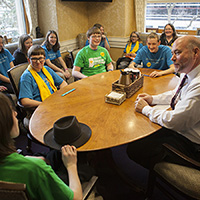 Students from Geist Montessori Academy spending time with Speaker Bosma