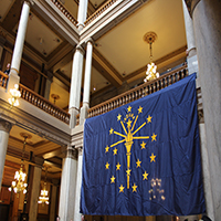 Indiana State Flag Hangs In The Atrium