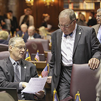 Rep. Lyness and Rep. Frye conducting House business on the floor