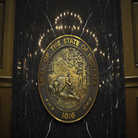 The Indiana State Seal Above the Rostrum in the House Chamber